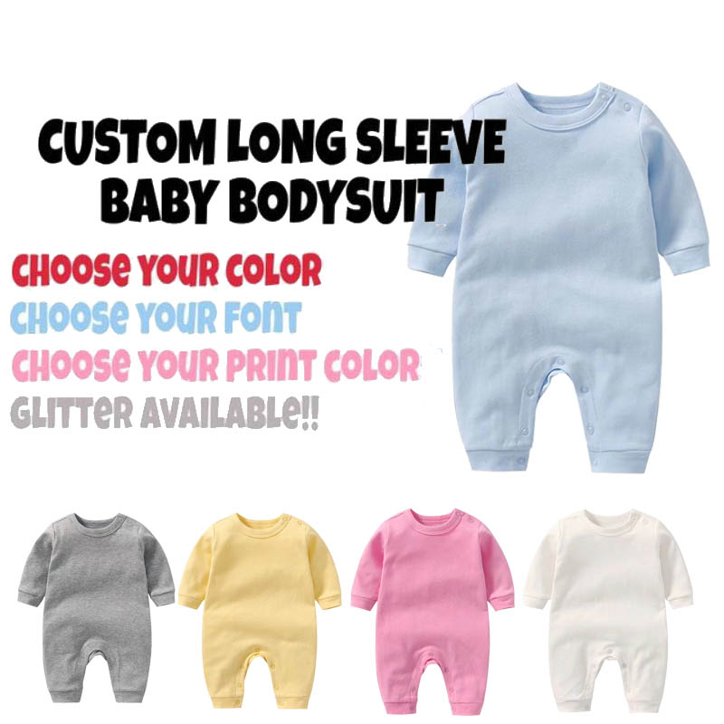 Culbutomind Winter Long Sleeve Custom Text Baby Clothes Personalized Baby Bodysuit  Cute Baby Unisex Clothes