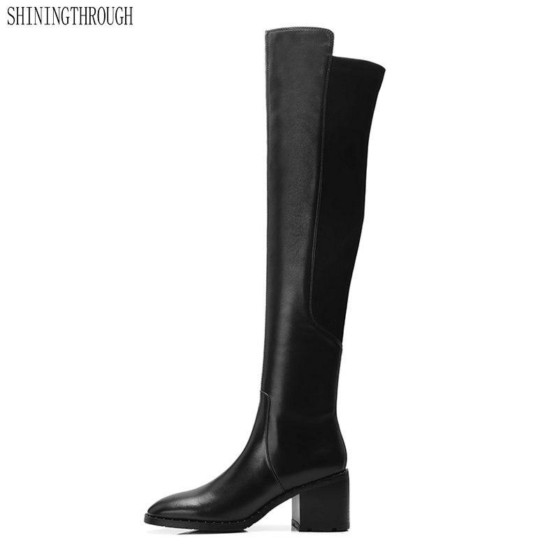 2018 النساء السود الأحذية جلد طبيعي على مدى الركبة الأحذية 7 سنتيمتر عالية الكعب الخريف الشتاء أحذية أنيقة-في أحذية فوق الركبة من أحذية على  مجموعة 1