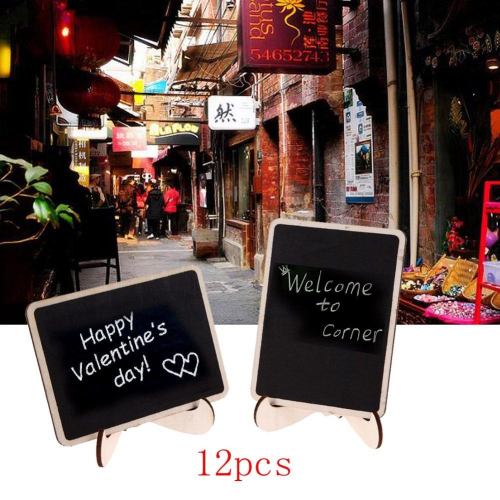 12Pcs DIY Assembled Mini Blackboard Wooden Message Black Board Wedding Party Labels Wood Chalkboard Office School Supplies