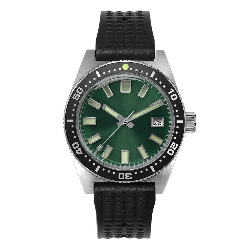 San Martin 62MAS นาฬิกาอัตโนมัติผู้ชายนาฬิกาดำน้ำสแตนเลส 200m กันน้ำเซรามิค Bezel นาฬิกาข้อมือ NH35Mov't 40 มม.-ใน นาฬิกาข้อมือกลไก จาก นาฬิกาข้อมือ บน   1