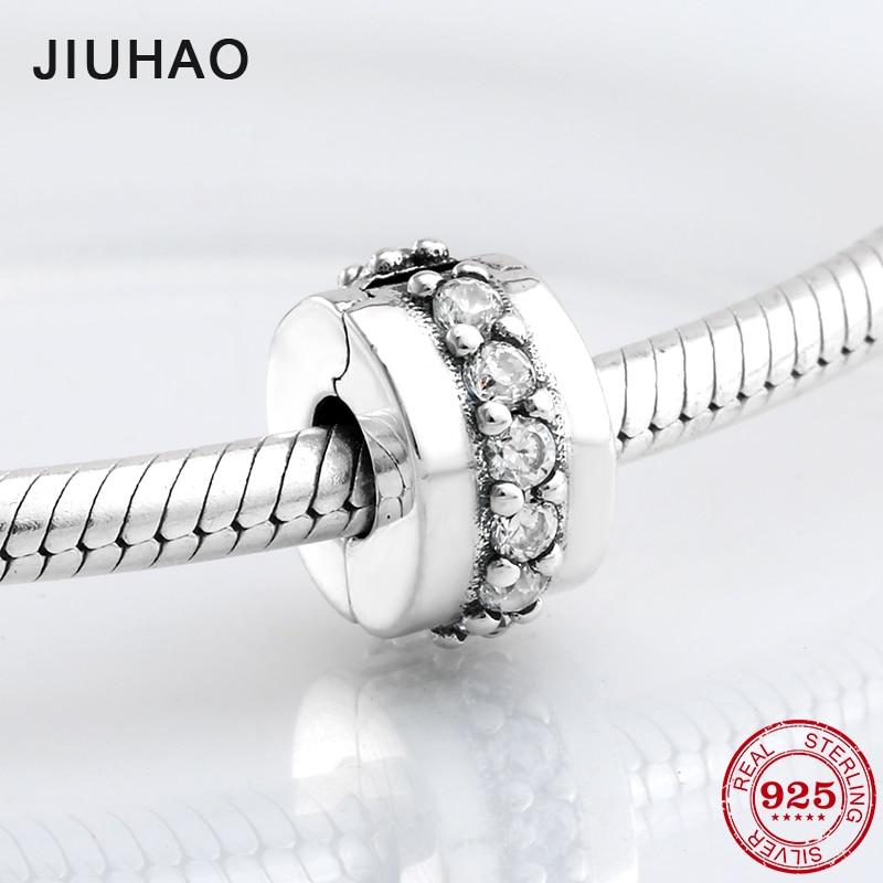 925 Sterling Silver fashion delicate round clips Lock CZ beads Fit Original Pandora Charm Bracelet Jewelry making