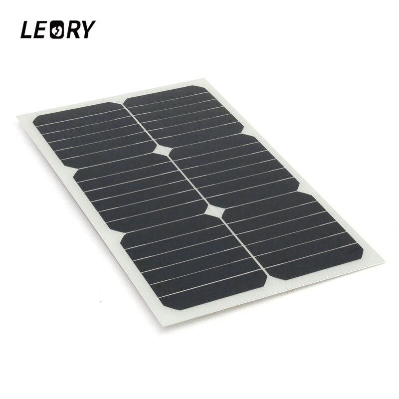 LEORY 20 W 12 V panneau solaire monocristallin puissance solaire pour RV voiture bateau chargeur de batterie Semi Flexible cellules solaires Module + puce
