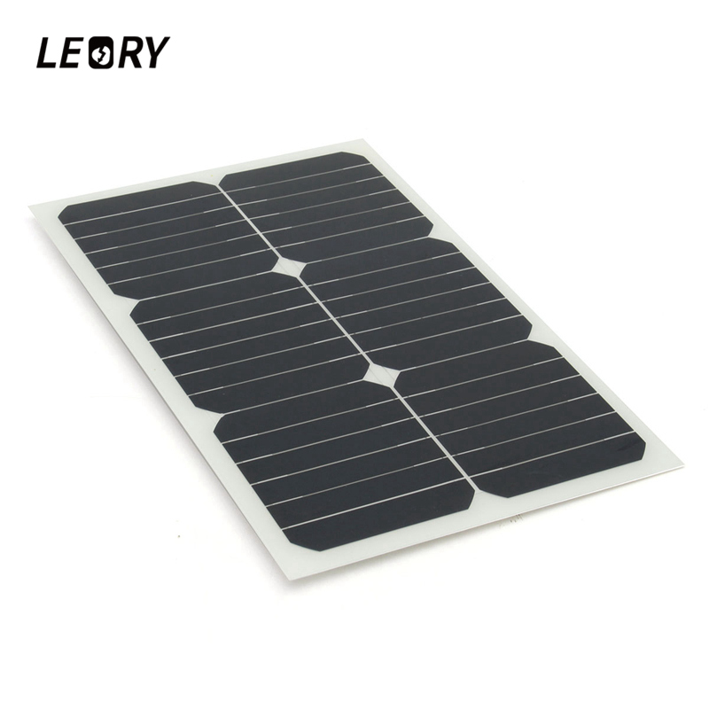 LEORY 20W 12V Solar Panel Monocrystalline Sun Power For RV Car Boat Battery Charger Semi Flexible Solar Cells Module+Chip leory 12v 4 5w solar panel portable monocrystalline solar cells power charger diy module battery system for car automobile boat