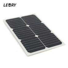 Leory 20 Вт 12 В Панели солнечные монокристаллического Защита от солнца Мощность для автомобиля RV лодка Батарея Зарядное устройство полу гибкие солнечных батарей модуля + чип