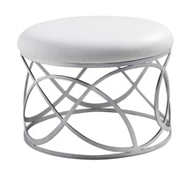 unique designer post modern style top graded cow real leather ottoman/stool living room home furniture  stainless steel bottom