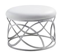unique designer post modern style top graded cow real leather ottoman/stool living room home furniture stainless steel bottom(China)