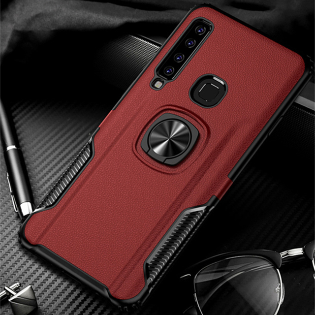 Leather Metal Ring Case For Samsung A9 2018 A9S Car Magnetic Stand Holder Shockproof Silicon Back Cover For A7 2018 A750F Fundas
