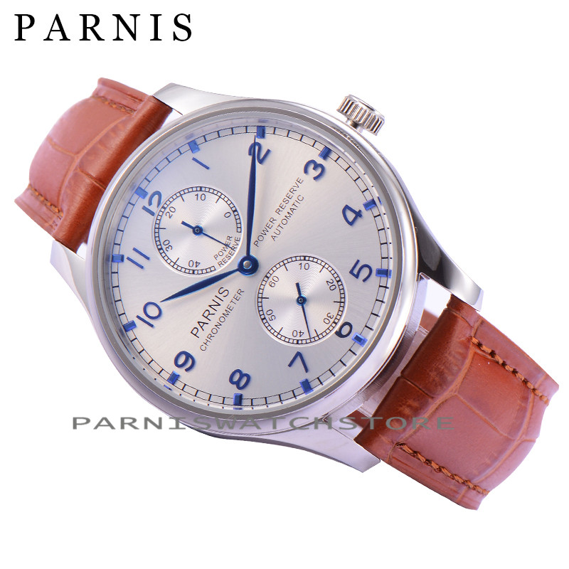 Parnis 43mm Automatic Power Reserve Sliver Dial & Blue Numbers Men's Watches Mechanical Men Watch  casual 43mm parnis automatic power reserve white dial blue numbers silver watch case business watch men