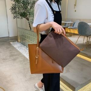 Image 3 - Moda 2 setleri pu deri lüks çanta kadın çanta tasarımcı çantaları yüksek kaliteli kadın omuzdan askili çanta ana kesesi
