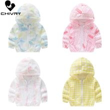 Chivry 2019 Childrens Hooded Sun Protection Clothing Summer Baby Boys Girls Thin Coat Cartoon Kids Beach Jacket Outwear