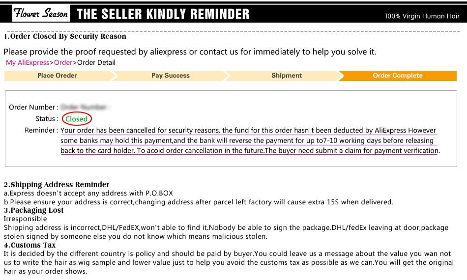 9-The seller kindly reminder