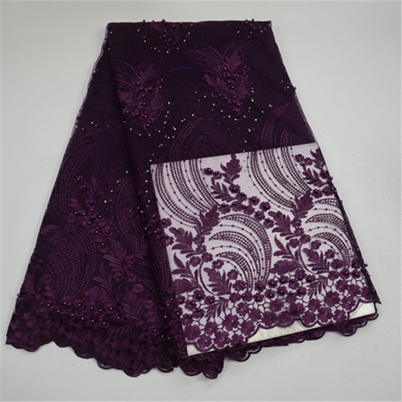 Beatiful!2018 High quality embroidery mesh  lace fabric purple flower pattern with beads nigeria lace fabrics for wedding partyBeatiful!2018 High quality embroidery mesh  lace fabric purple flower pattern with beads nigeria lace fabrics for wedding party