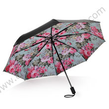 2 pcs/lot trois fois protection solaire parapluie cinq fois revêtement noir anti-uv alliage fibre de verre sakura cerisier fleur shopping parasol(China)