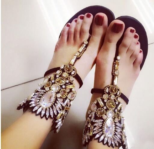 ФОТО 2017 newest high quality leather sandal crystal embellished flat sandal Rome style thong sandal woman ankle strap flip-flops