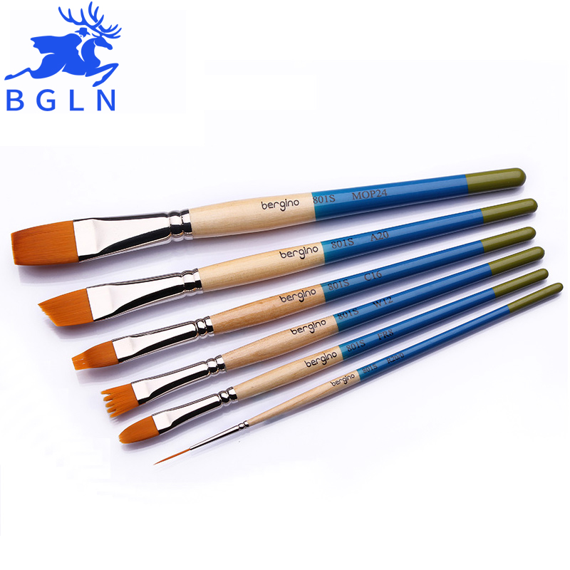 BGLN 6Pcs Paint Brush Set For Watercolor, Acrylic and Oil Painting Excellent Variety Of Brush Shapes Art Supplies 801S 25pcs set valued all in one watercolor acrylic paint art supplies paint artist for painting high quality