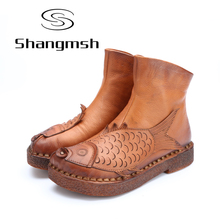 Shangmsh Flat Ankle women's winter boots 2017 Autumn Folk Style Fish Shape Shoes Genuine Leather Soft Casual Boots Footwear
