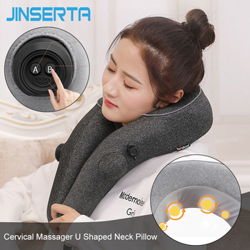 JINSERTA Cervical Massager U Shaped Neck Pillow Automatic Inflation Travel Pillow Multi-function Massage Kneading