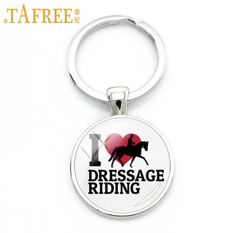TAFREE Brand I Love Dressage Riding keychain fashion women men horse jump equestrian sports style key chain ring jewelry SP531
