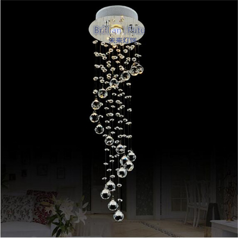 Modern K9 Crystal pendant LED Clear Waterford Spiral Sphere LED Crystal Chandelier Lighting Lustre Ceiling Lamp Suspension Lamp