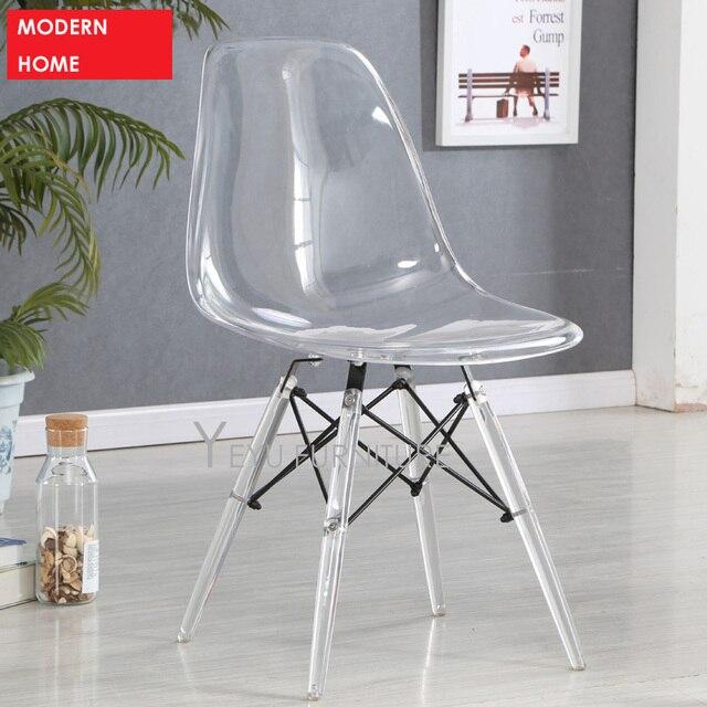 € 143.14 |Silla lateral de comedor de plástico transparente de diseño  moderno minimalista, silla de cristal de diseño moderno para el hogar en ...