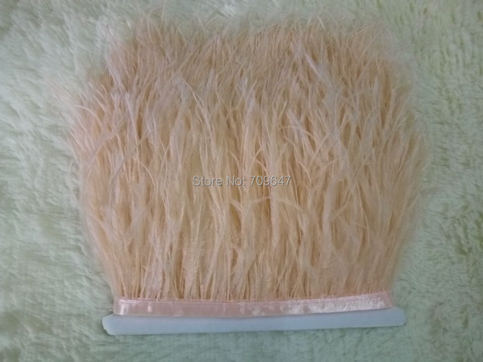Light Champagne Ostrich Feathers 10 Yards Feather Fringe Trim For Dressmaking 5 6inches Wide