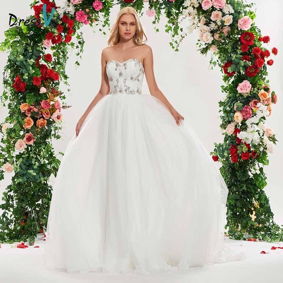 Dressv sweetheart neck wedding dress a line sleeveless lace-up beading floor length bridal outdoor&church wedding dresses