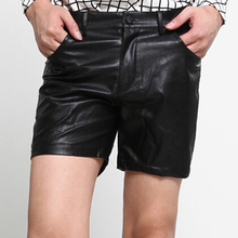 Cool Sexy Soft PU Male Bermuda Nightclub Black Men Leather Shorts Tight Stage Performance Bottom
