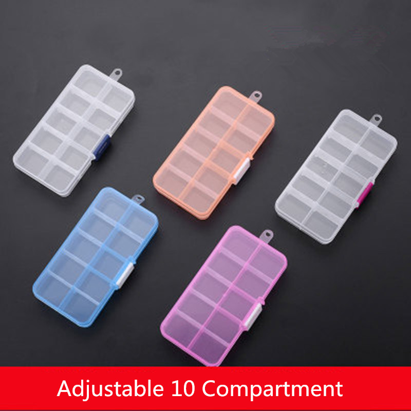 Practical Adjustable 10 Grids Compartment Plastic Storage Box Jewelry Earring Bead Screw Holder Case Display Organizer Container