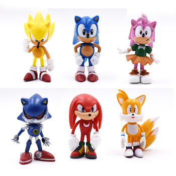 6 PCS/Set Sonic Figures PVC Sonic Shadow Sonikku Za Hejjihoggu Tails Characters Figure Christmas Gift Toy 37 cm 6pcs set hot sale sonic figures toy pvc sonic shadow tails characters figure sonic shadow tails characters figure toys