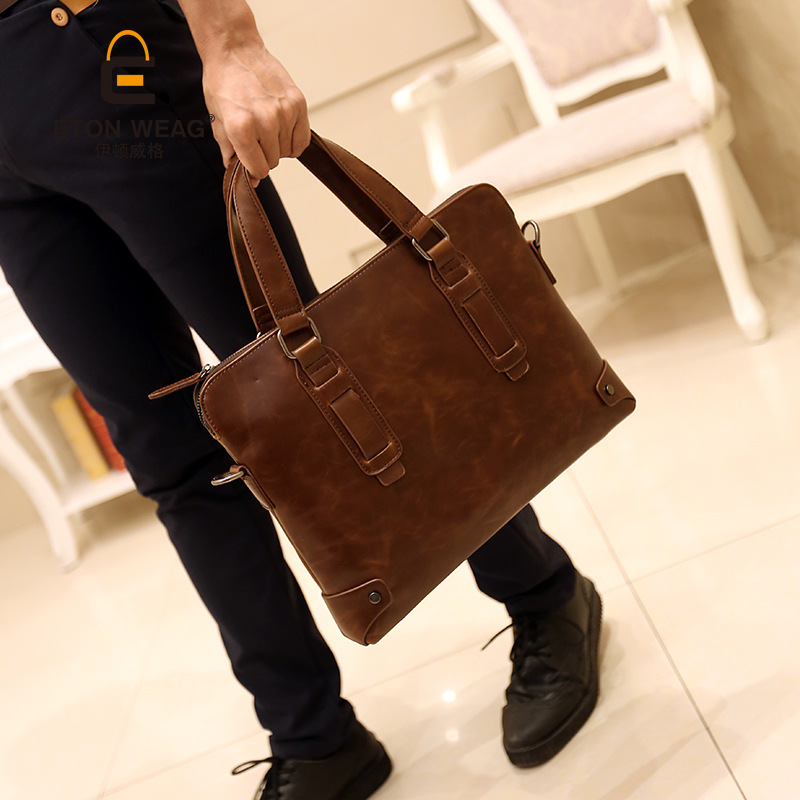2016 new Korean male business casual men Bag Handbag Shoulder Bag messenger bag briefcase ipad bag handbags male vertical section business briefcase men bag korean trendy men crazy horse bag messenger bag 2016 new