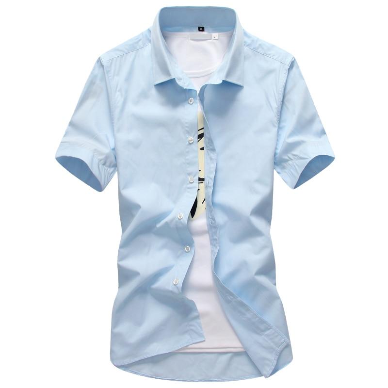Candy Color Men Shirt 2018 Spring Summer Turn Down Collar Short Sleeves Casual Shirts Camisa Masculina Casual Business Shirts