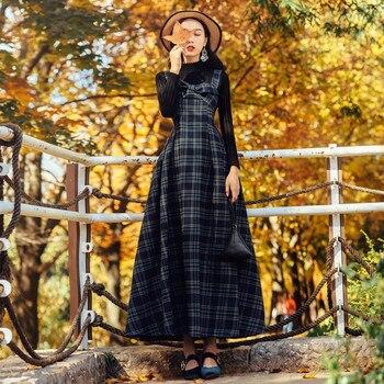 2018 New Spring Fashion Women's Sets Elegant High Collar Long Sleeve Black Sweaters + Ultra Long Plaid Strap Dress Female Suits фото