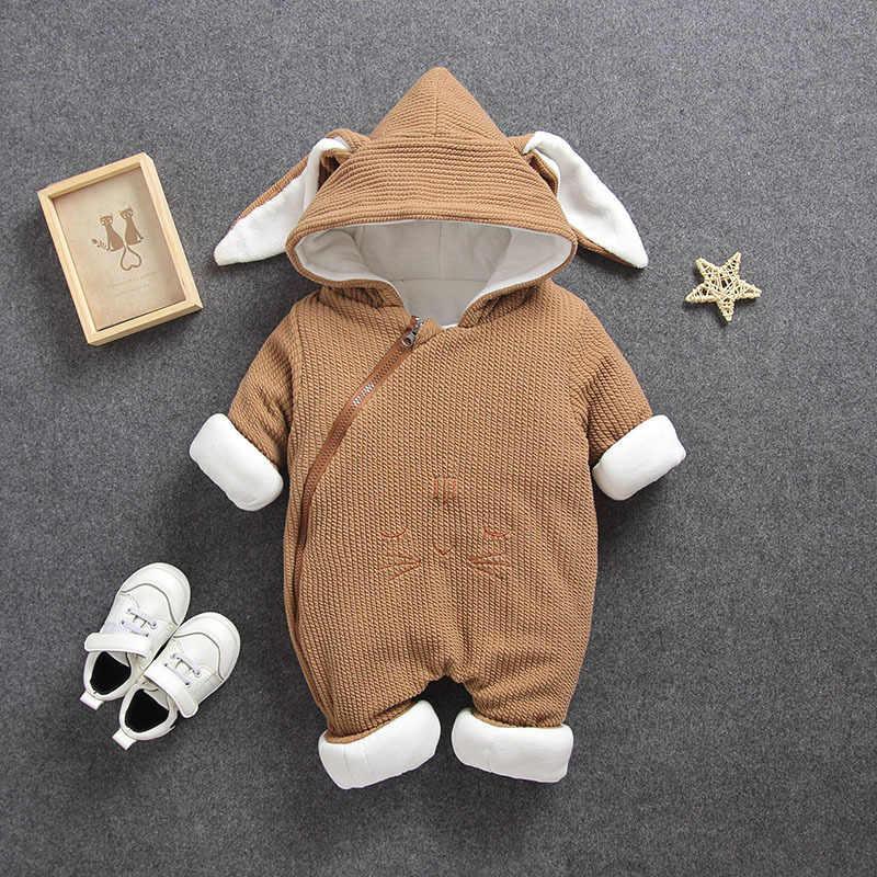 2020 jesień zima płaszcz kombinezon odzież dla niemowląt noworodka Snowsuit chłopiec ciepłe Romper puchowe bawełniane kurtki dziewczyna śnieg ubrania body