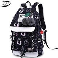 FENGDONG Women USB Backpack School Bag For Teenage Girls Student BookBag Canvas Cute Printing Travel Bagpack