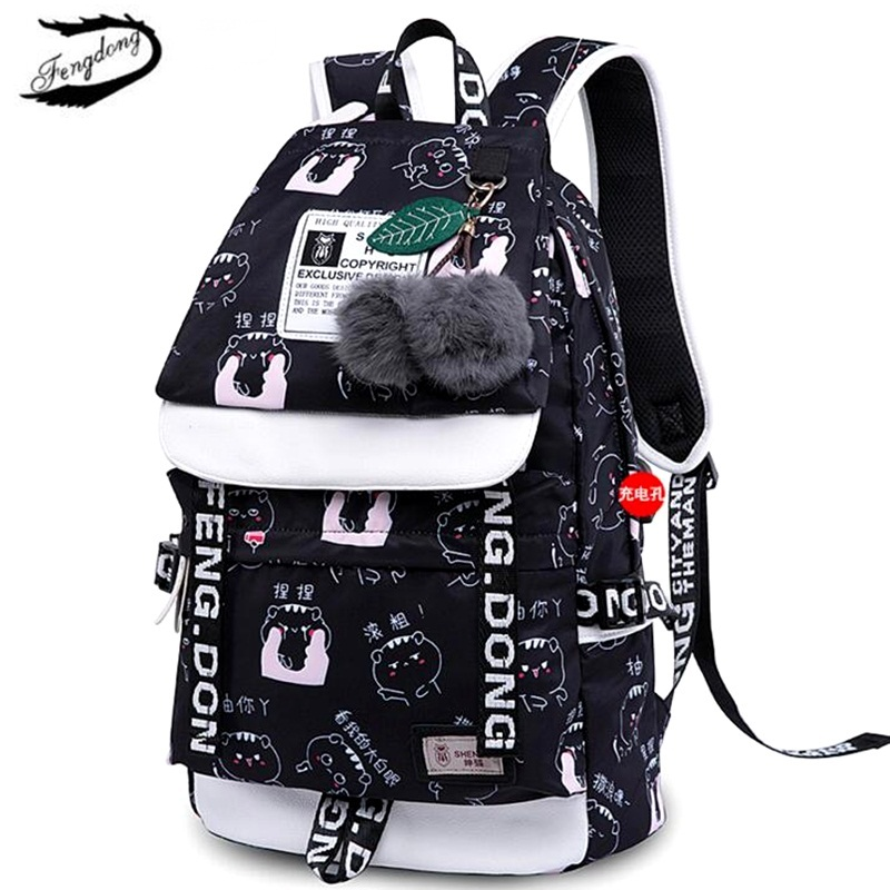 FENGDONG Women USB Backpack School Bag For Teenage Girls Student BookBag Canvas Cute Printing Travel Bagpack Mochila Feminina fengdong brand women backpack shoulder bag female school students bag travel canvas printing backpack for women teenage girls
