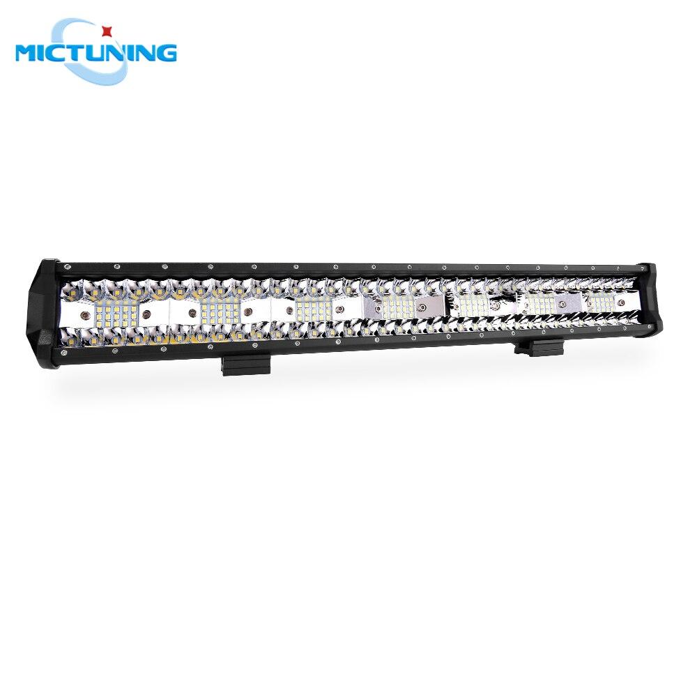 MICTUNING 20 Five Row LED Straight Work Light Bar Combo Beam Roof Driving Fog Lamp Super