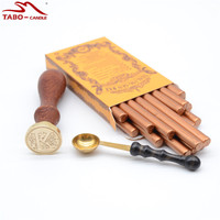 Famous Red Gold Sealing Wax Stick In Rod Shape with Wax Melting Spoon for Vintage Envelope Decoration Stamp Included