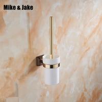 Luxury gold bathroom brush holder with Ceramic cup household toilet brush bath holder bathroom brush shelf accessories