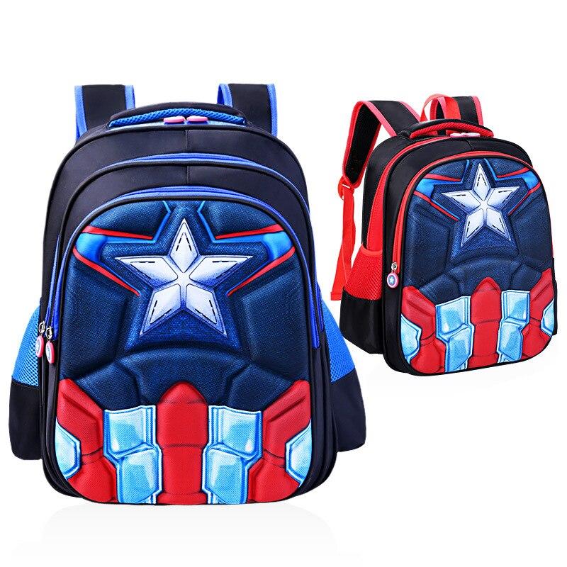 d39f3f6525 Hot 3D stereo Children s Backpack Boys Captain America School Bags For Boys  Girls Children Primary Students