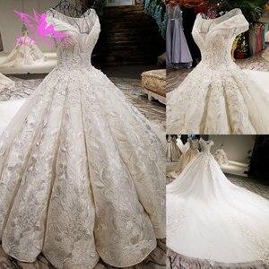 Image 5 - AIJINGYU 2021 فاخر كريستال تألق الماس الزواج جديد حار بيع ثوب الخامس الرقبة فساتين العروس الرسمية فستان الزفاف WT173
