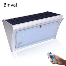 Binval 1000lm Bright Solar Light 56LED Radar Motion Sensor Power Lamp For Outdoor Garden Street Wall With Remote Control 3 Modes