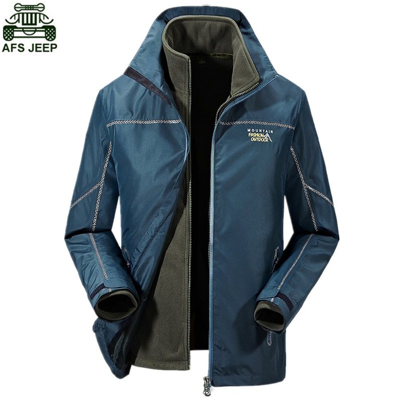 AFS JEEP Brand Outdoor Camping Hiking Climbing Fishing Clothing Winter Jacket Men Hunting Clothes Waterproof Windproof Softshell