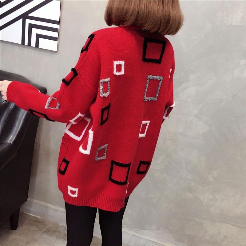 Geometrische Mesh V Pullover Strickjacke H ausschnitt Langarm Damen Warme Frauen Korean KhakiRot Winter Herbst Aa11926 keln Pullover hCsdtQr