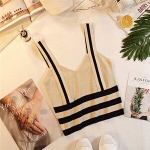 Image 2 - קיץ נשים אופנה סריגה פס טנק יבול חולצות נקבה סרוג נמתח קצוץ חולצה לא קצר שרוולים חולצות