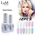 12 Pcs Free Shipping Pearl Series Gel Glitter Shells Nails Polish (10Colors 1Base Coat 1Top Coat) New Arrival Factory Wholesale