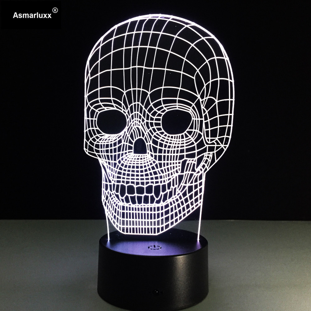 Skull LED Table Lamp Amazing 3D Illusion Light Night Light 7 Different Color is Adjustable (Skull) Halloween Party's Kids Gift