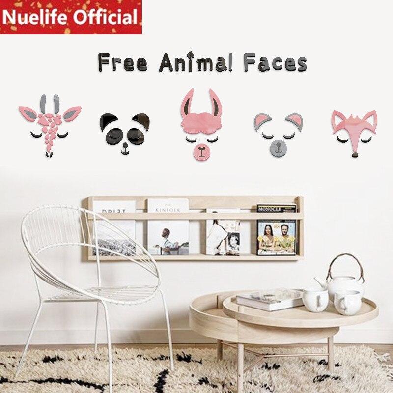 Couleur animal visage conception 3d acrylique stickers muraux enfants chambre maternelle salon chambre TV canapé fond stickers muraux N4
