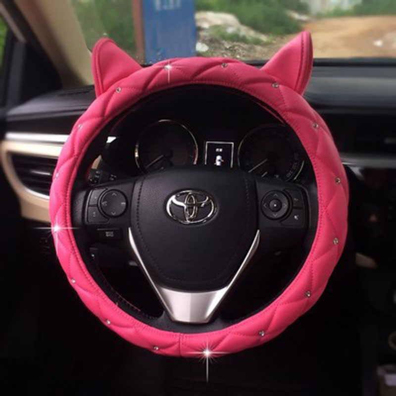 Cute Ear Design Leather Steering Wheel Cover Studded Rhinestone Covered Pink Car Steering Wheel Cover For