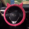 Cute Ear Design Leather Steering Wheel Cover Studded Rhinestone Covered Pink Car Steering Wheel Cover For Girls New