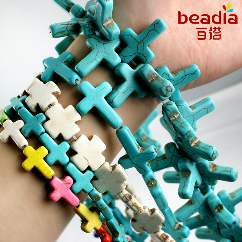 Подвески из синтетических крашеных бусин разных размеров, белые, синие, крестовые, для самостоятельного изготовления ожерелий, шармов, брас...
